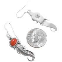 Native American Coral Silver Earrings 39368