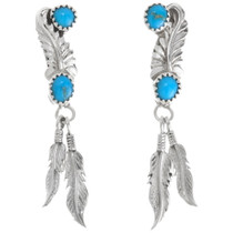Sterling Silver Turquoise Feather Earrings 39369