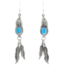 Native American Turquoise Feather Earrings 39371