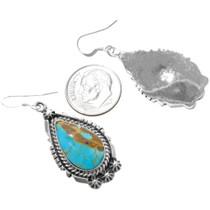 Navajo Freida Martinez Turquoise Sterling Silver Earrings Signed 39373