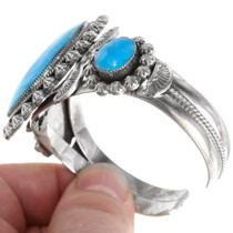 High Grade Kingman Turquoise Sterling Silver Cuff 39378