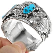 Native American Sleeping Beauty Turquoise Sterling Silver Cuff Bracelet 39383