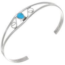 Sterling Silver Wire Turquoise Bracelet 39384