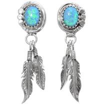 Opal Sterling Silver Feather Dangle Earrings 39387