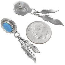 Authentic Navajo Blue Opal Feather Earrings 39387