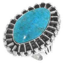 Navajo Kingman Turquoise Silver Ring 39394