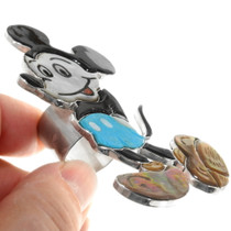 Zuni Mickey Mouse Turquoise Silver Ring Artist Andrea Lonjose 39398