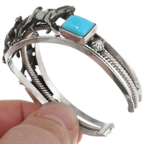 Sterling Silver Horses Design Turquoise Bracelet 39415