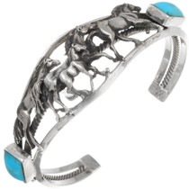 Navajo Turquoise Sterling Silver Horse Bracelet 39415