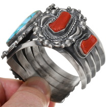 Gem Turquoise Red Coral Native American Bracelet 39418