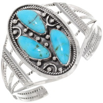 Navajo Three Stone Turquoise Ladies Cuff Bracelet 39421