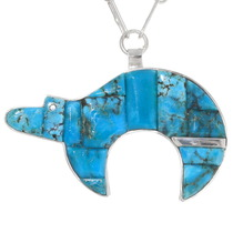 Turquoise Inlay Bear Pendant 39437