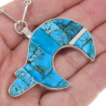 Turquoise Mosaic Inlay Bear Navajo Pendant 39437