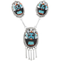 Mosaic Inlay Kachina Sterling Silver Zuni Necklace 39439