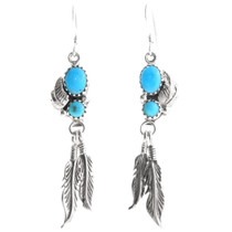 Navajo Turquoise Silver Feather Earrings 39441