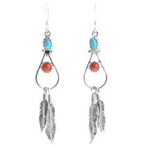 Turquoise Coral Feather Earrings 39444