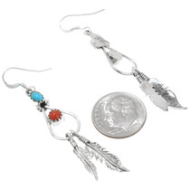 Sterling Silver Navajo Feather Turquoise Earrings 39444