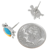 Zuni Inlay Silver Petite Turtle Earrings 39447