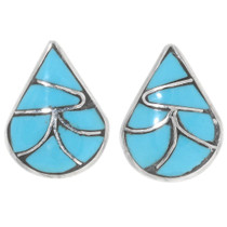 Native American Turquoise Teardrop Earrings 39448