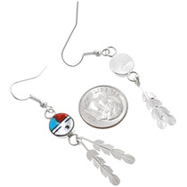 Sterling Silver Turquoise Coral Inlay Sunface Earrings 39449