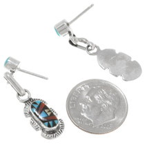 Authentic Zuni Ernest Leekela Inlaid Gemstone Earrings Signed 39452