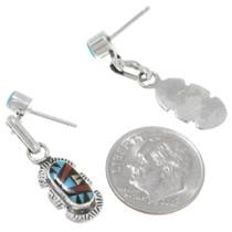 Authentic Zuni Ernest Leekela Inlaid Gemstone Earrings Signed 39452