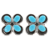 Zuni Turquoise Flower Earrings 39453