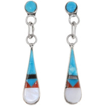Inlaid Pueblo Turquoise Dangle Earrings 39456