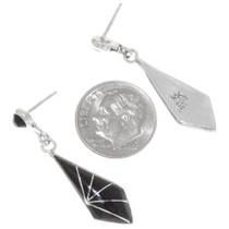 Sterling Silver Onyx Earrings Zuni Made Kal Kallestewa Signed 39460