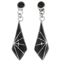 Black Onyx Silver Dangle Earrings 39460
