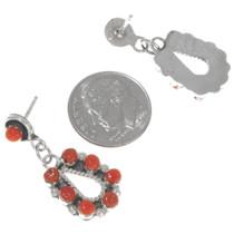 Zuni Sterling Silver Coral Earrings Artist Lynette Laate Signed 39466