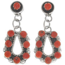 Red Coral Native American Earrings 39466