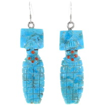Carved Turquoise Blue Corn Maiden Earrings 39468