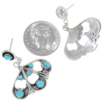 Authentic Native American Turquoise Earrings Zuni Artist Arlene Tsattie Signed 39473