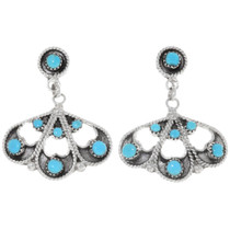 Sleeping Beauty Turquoise Filigree Silver Earrings 39473