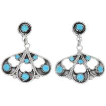 Sleeping Beauty Turquoise Filigree Silver Earrings 39473