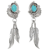 Turquoise Sterling Silver Feather Earrings 39476