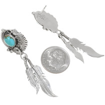 Navajo Feather Turquoise Earrings 39476
