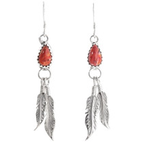 Natural Spiny Oyster Shell Feather Earrings 39478