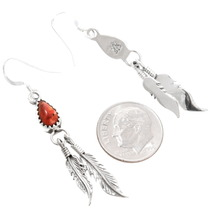 Sterling Silver Navajo Feather Dangle Earrings 39478