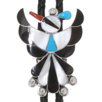 Inlaid Turquoise Sterling Silver Zuni Bolo Tie 39480