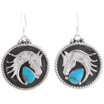 Turquoise Silver Horse Earrings 39492