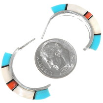 Turquoise Coral Inlay Sterling Silver Zuni Earrings 39496
