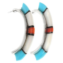 Zuni Inlaid Multistone Half Hoop Earrings 39496