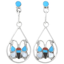 Zuni Butterfly Turquoise Inlay Earrings 39497