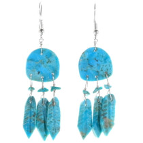Navajo Carved Turquoise Dreamcatcher Earrings 39502