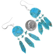 Dreamcatcher French Hook Turquoise Earrings 39502
