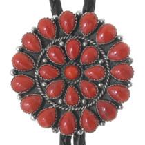 Red Coral Round Bolo Tie 39507