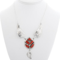 Red Coral Native American Silver Feather Necklace 39509
