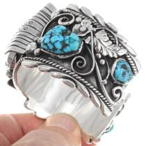 Native American Watch Bracelet Kingman Turquoise 39518